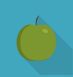 green apple icon in flat long shadow design vector image