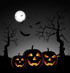 Halloween night with pumpkins on gray background vector image