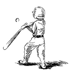 Hand sketch of a little boy playing baseball vector