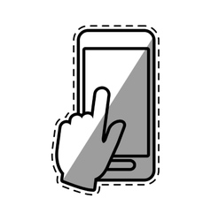 Hand touch smartphone payment digital shadow vector