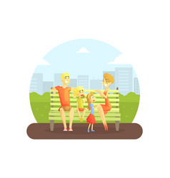 happy family sitting on bench in urban park vector image