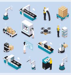 Isometric smart industry icon set vector