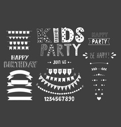 kids party lettering party design elements vector image