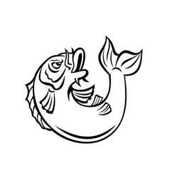 Koi jinli or nishikigoi fish jumping up cartoon vector