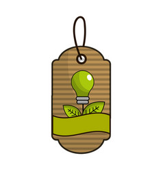 label with green bulb leaves and ribbon inside vector image
