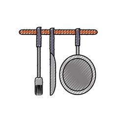 ladles and pan illsutratio vector image