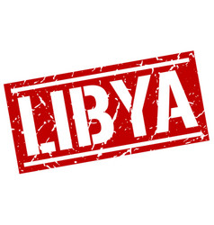 Libya red square stamp vector