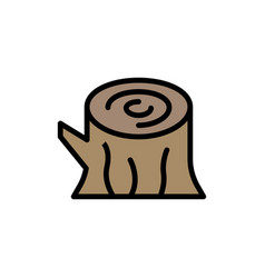Log wood wooden spring flat color icon icon vector