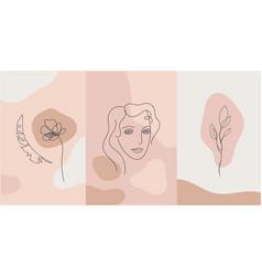 minimalist style portrait line flower vector image