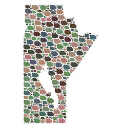 Mosaic map of manitoba province of stones vector