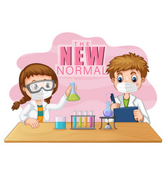 New normal with two scientist kids wearing face vector