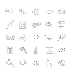 Oculist correction eyes health icons set vector