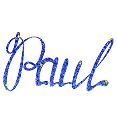 Paul name lettering tinsels vector