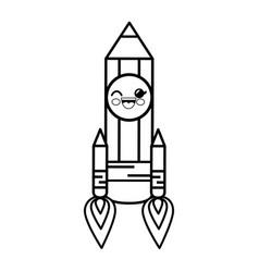 pencil rocket cartoon smiley vector image