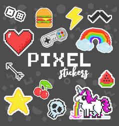 pixel art 8 bit retro stickers set vector image