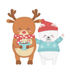 polar bear and deer with gift celebration merry vector image