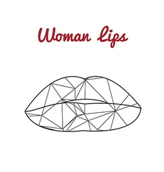 Polygonal lips triangle logo or icon vector