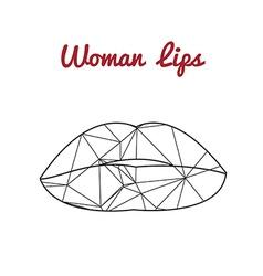 Polygonal lips triangle logo or icon vector