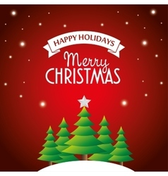Postcard happy holidays merry christmas pine tree vector