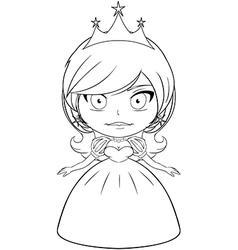 Princess Coloring Page 2 vector image vector image