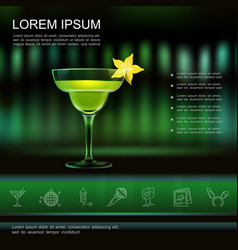 realistic light night party template vector image