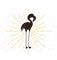 Retro flamingo silhouette vector