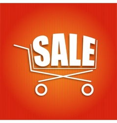 Sale poster with a basket vector
