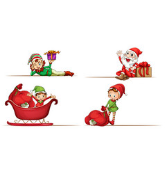Santa and christmas elves on white background vector