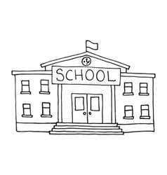 School building doodle vector