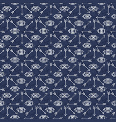 Seamless pattern design with stars eyes and arrows vector