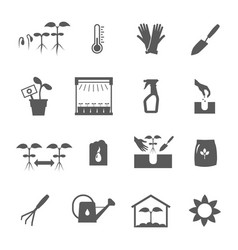 Seedling black white icons set vector