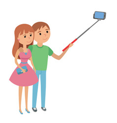 selfie couple man and woman vector image