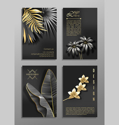 Set of 4 elegant brochure card background cover vector