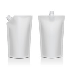 Set of white blank plastic doypack stand up pouch vector