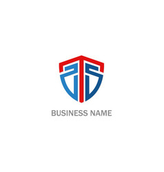 shield protect initial business company logo vector image