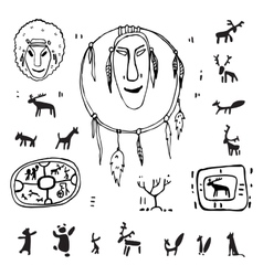Siberia Primitive painting set vector image