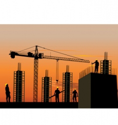 Silhouette construction site vector
