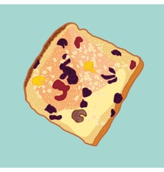 Slice of bread with raisins vector