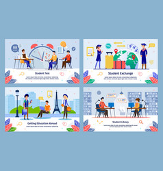 Student education abroad flat banners set vector