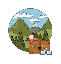 suitcase travel with eyeglasses and camping icon vector image