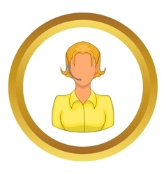 Support phone operator in headset icon vector image