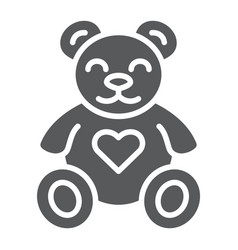 Teddy bear glyph icon animal and child plush toy vector