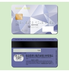 Template design of a credit card on the front and vector image