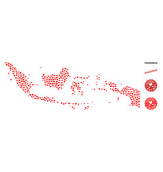 Valentine mosaic map of indonesia and grunge vector