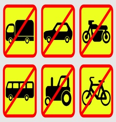 Vehicle Prohibition Icons vector
