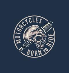 vintage motorcycle tshirt graphics born to ride vector image