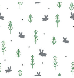 winter rabbit seamless pattern vector image