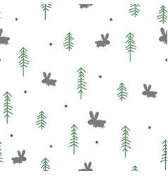 Winter rabbit seamless pattern vector