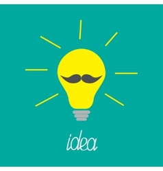 Yellow light bulb with mustaches Idea concept vector