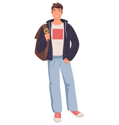 Young guy with backpack university student vector